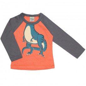 camiseta manga longa raglan dino laranja 8190
