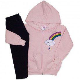 conjunto blusa moletom capuz legging molecotton rosa 19041