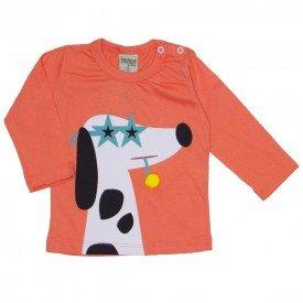 camiseta manga longa cachorrinho laranja 8172