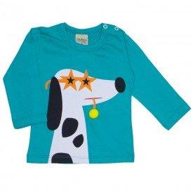 camiseta manga longa cachorrinho verde 8172