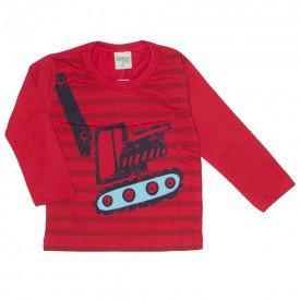 camiseta manga longa estampada com listras em meia malha vermelho 8196