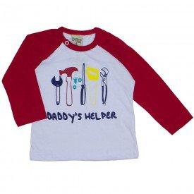 camiseta manga longa daddy s helper vermelha 8170