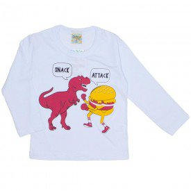 camiseta manga longa snack attack branca 8192