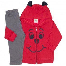 conjunto jaqueta moletom com orelhinhas vermelho 8160