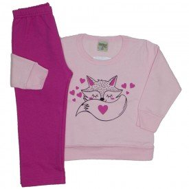 conjunto moletom raposinha rosa 8104