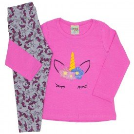conjunto cotton unicornio pink 8100