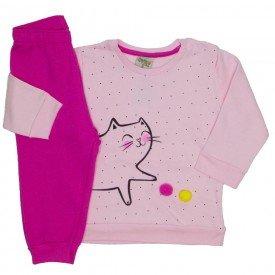 conjunto moletom meow popom rosa 8082