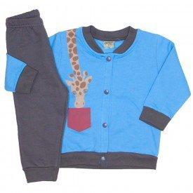 conjunto de moletom mini girafa azul 8164