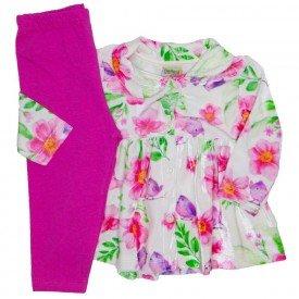 conjunto plush sobretudo floral rosa e pink 8074