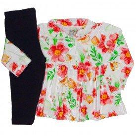 conjunto plush sobretudo floral vermelho 8074