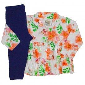 conjunto plush sobretudo floral laranja 8074