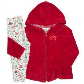 conjunto plush floral vermelho 8094
