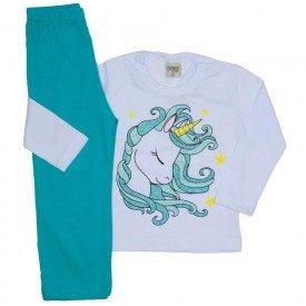 pijama meia malha unicornio branco 8248