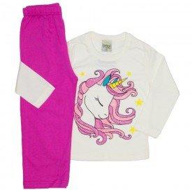 pijama meia malha unicornio off white 8248