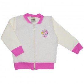 jaqueta moletom com pelos unicornio rosa 8106