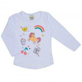 blusa meia malha unicornio branca 8110