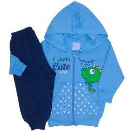 conjunto jaqueta azul ceu e calca de moletom 4052