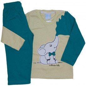 conjunto casaco moletom bege e calca moletom verde 4058
