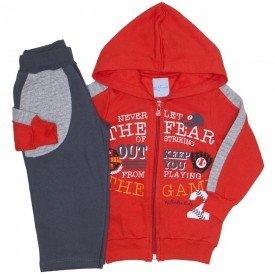 conjunto jaqueta vermelho e calca moletom chumbo 4065