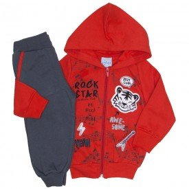 conjunto jaqueta moletom vermelho e calca 4069