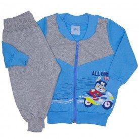 conjunto jaqueta moletom e calca de matelasse azul 4056