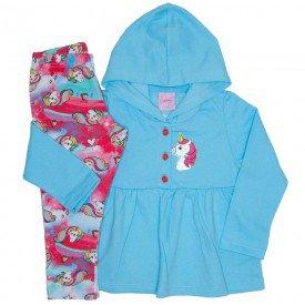 conjunto casaco de moletom azul com calca 4006