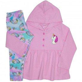 conjunto casaco de moletom rosa com calca 4006