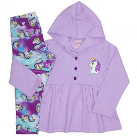 conjunto casaco de moletom lilas com calca 4006