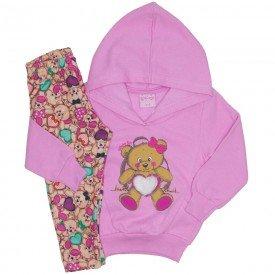 conjunto casaco de moletom rosa e legging 4011