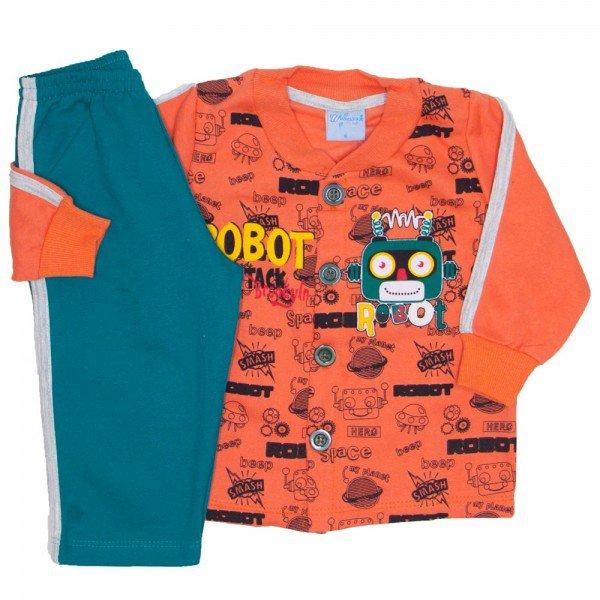 conjunto casaco moletom laranja e calca marinho 4053