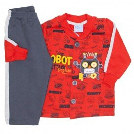 conjunto casaco moletom vermelho e calca chumbo 4053