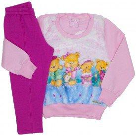 conjunto casaco de moletom rosa bebe e legging 4013