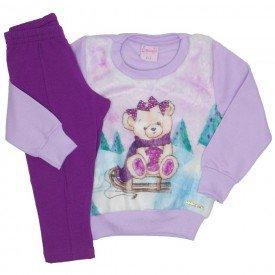 conjunto casaco de moletom lilas e legging 4013
