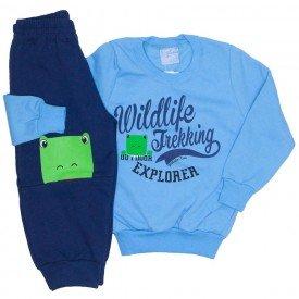 conjunto casaco moletom e calca moletom azul 4057