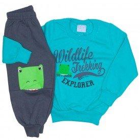 conjunto casaco moletom e calca moletom verde 4057