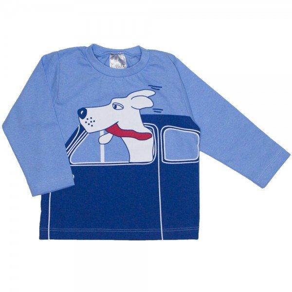 camiseta manga longa azul de meia malha 1091