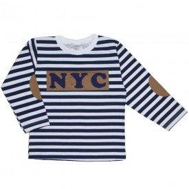 camiseta manga longa listrada marinho e branco 1098