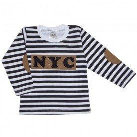 camiseta manga longa listrada preto e branco 1098
