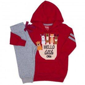 conjunto moletom blusao capuz galao calca jogger vermelho 4278