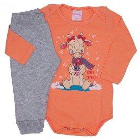 conjunto body laranja e calca mescla 4000