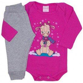 conjunto body pink e calca mescla 4000