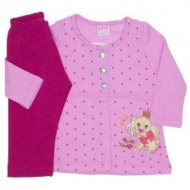 conjunto casaco de moletom rosa medio com calca 4005