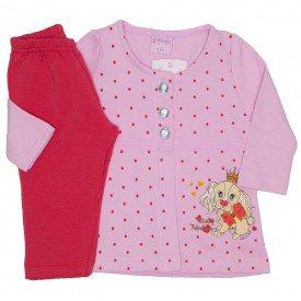 conjunto casaco de moletom rosa bebe com calca 4005