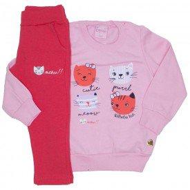conjunto casaco de moletom rosa bebe com legging 4007
