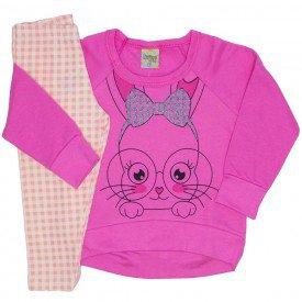 conjunto casaco plush e legging cotton coelhinho pink 8098