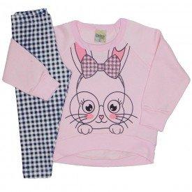 conjunto casaco plush e legging cotton coelhinho rosa bebe 8098