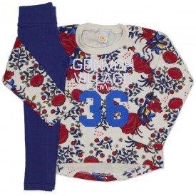 conjunto casaco off florido e legging marinho 8907