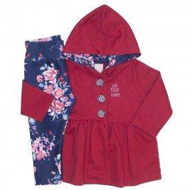conjunto casaco moletom e legging molecotton bordo 0043