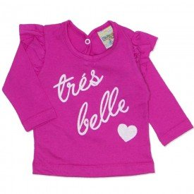 blusa meia malha babado tres belle pink 8084