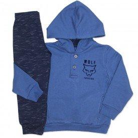 conjunto blusa moletom wolf com capuz azul e marinho 5277